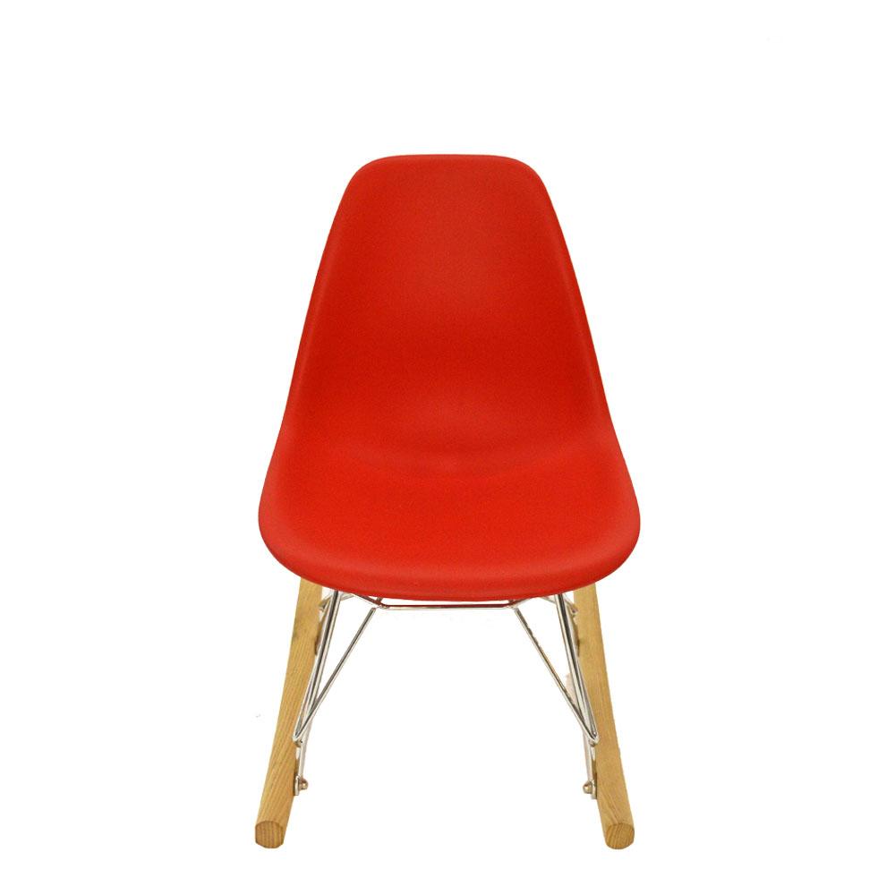 Silla mecedora infantil roja con base imitación madera de 47.5x30.5x51.5cm