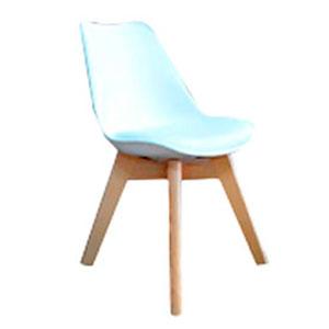 Silla de plástico infantil blanca con patas imitación madera y asiento de polipiel de 32x37x55cm