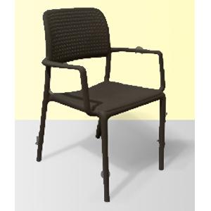 Silla de plastico con descanzabrazos y patas de metal negras de 56.5x59x86x45.5cm