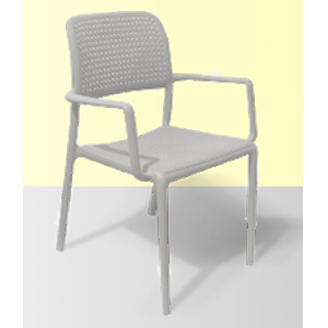 Silla de plastico con descanzabrazos y patas de metal blancas de 56.5x59x86x45.5cm