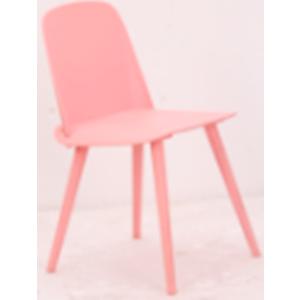 Silla de plastico con patas de metal rosa de 50.5x45.5x80x45cm