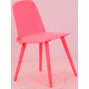Silla de plastico con patas de metal roja de 50.5x45.5x80x45cm