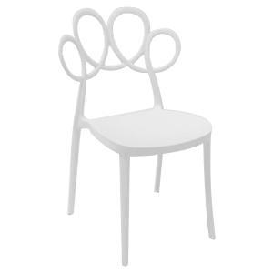 Silla moderna blanca de plástico con respaldo diseño círculos de 55x51x84cm