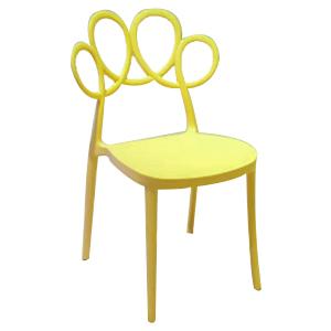 Silla moderna amarilla de plástico con respaldo diseño círculos de 55x51x84cm