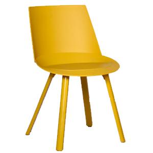 Silla moderna de plástico amarilla de 57x50x80cm