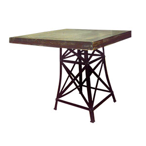 Mesa de madera diseño insdutrial con base de metal diseño Torre Eiffel de 51x51x76/90x90cm