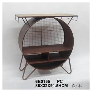 Mesa de metal diseño circulo con entrepaños y malla de 86x32x91,5cm