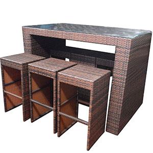 Barra de bar con 6 bancos de fibras plásticas cafés de 150x80x107/39x39x73cm