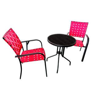 Juego de mesita con 2 sillas tejidas en color rojo de 60x70/57x64x90cm