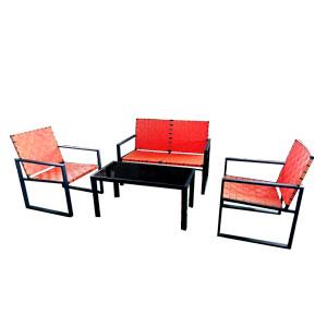 Juego de sala de metal tejida color naranja con mesa de centro de 62x69x85/112x69x85/100x51cm
