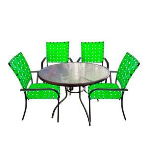 Juego de jardin de metal con 4 sillas tejidas en color verde de 92x92x10/90x72cm
