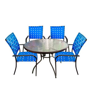 Juego de jardin de metal con 4 sillas tejidas en color azul de 92x92x10/90x72cm