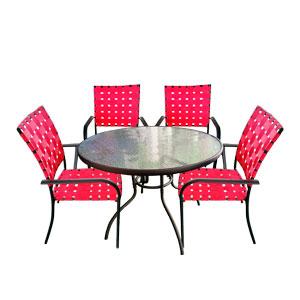 Juego de jardin de metal con 4 sillas tejidas en color rojo de 92x92x10/90x72cm