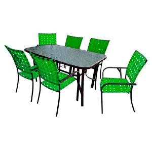 Juego de mesa rectangular con cubieta de cristal y 6 sillas tejidas en color verde de 152x8x92/57x64x90cm