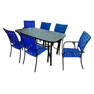 Juego de mesa rectangular con cubieta de cristal y 6 sillas tejidas en color azul de 152x8x92/57x64x90cm