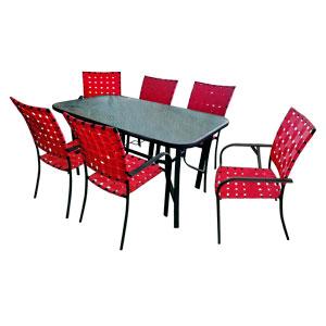 Juego de mesa rectangular con cubieta de cristal y 6 sillas tejidas en color rojo de 152x8x92/57x64x90cm