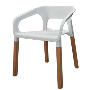 Silla de plastico blanca con patas imitación madera de 59x56x71cm