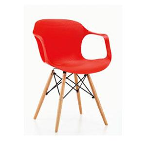 Silla c/descansabrazos de plástico roja c/patas imitación madera