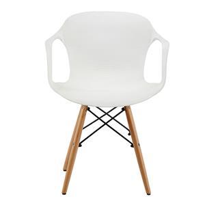 Silla c/descansabrazos de plástico blanca c/patas imitación madera
