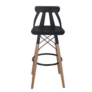 Silla para bar moderna de plastico negra con patas imitacion madera