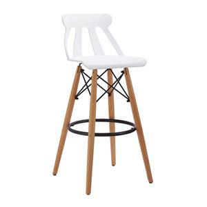 Silla para bar moderna de plastico blanca con patas imitacion madera