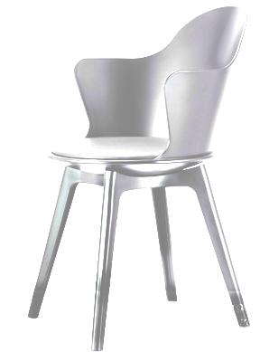 Silla  c/ asiento de polipiel y descansabrazos de plástico blanca