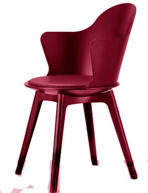 Silla c/ asiento de polipiel y descansabrazos de plástico roja