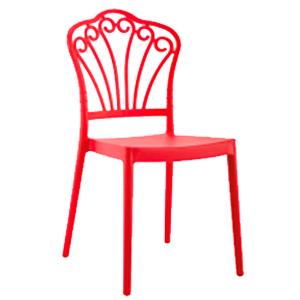 Silla de plástico roja con respaldo calado de 53x45x90cm