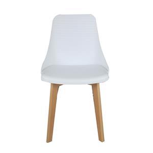 Silla con líneas horizontales blanca con patas imitación madera de 84x50x46cm