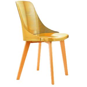 Silla con líneas horizontales gris con patas imitación madera de 84x50x46cm