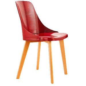 Silla con líneas horizontales roja con patas imitación madera de 84x50x46cm