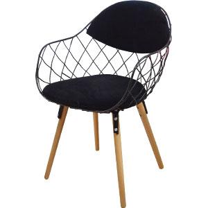 Silla diseño malla de metal con asiento en polipiel color negra y patas estilo madera de 55x52x80x43cm