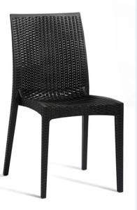 Silla de plástico color negro de 47.5x49x88.5x45.5cm