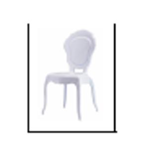 Silla de plástico blanco matte diseño colonial de 56x54x97cm