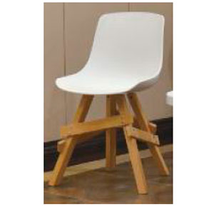 Silla de plastico blanca con base de madera color natural de 51x53x92cm