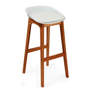 Banco de bar d/plástico c/polipiel blanco y patas imitación madera de 45.5x44x89cm