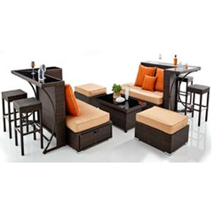Juego de Sala de fibras plasticas café con cojines y 2 barras con 6 bancos 6+1+1+1+2+1