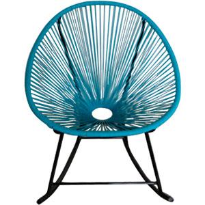 Silla tipo Acapulco mecedora en color azul de 70x93x76cm