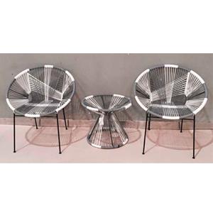 Set de 2 sillas y mesa de fibras plasticas diseño acapulco gris/blanco de 76x67x80/56x56x46cm