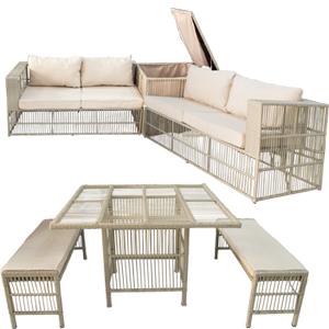 Sala de fibras plasticas con mesa esquineros y bancas de