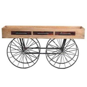 Mesa de metal industrial c/ruedas, cubierta de madera y c/3 cajones de 60x39x81cm