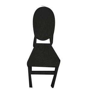 Silla de medallon de plastico negro de 40.5x51x90cm