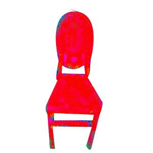 Silla de medallon de plastico rojo de 40.5x51x90cm