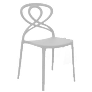 Silla de plástico blanca con diseño en respaldo