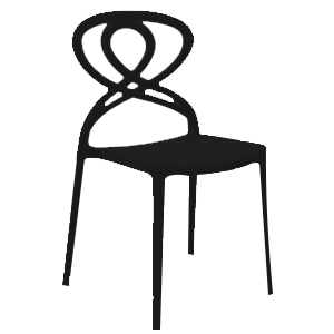 Silla de plástico negra con diseño en respaldo