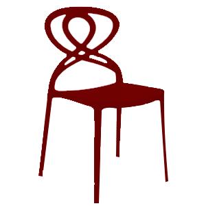 Silla de plástico roja  con diseño en respaldo