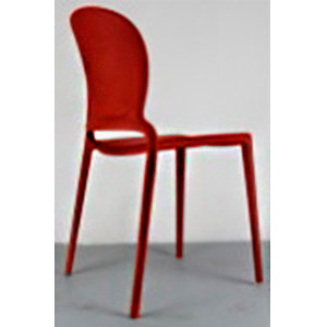 Silla de plástico roja con respaldo oval