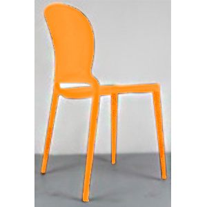 Silla de plástico naranja con respaldo oval