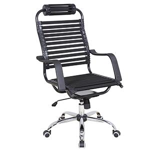 Silla para escritorio de tiras negras con altura ajustable de 61x71x113cm