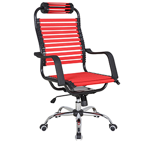 Silla para escritorio de tiras rojas con altura ajustable de 61x71x113cm